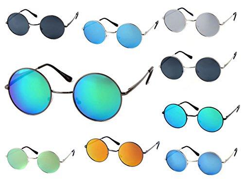 Sonnenbrille Flatlens Nickelbrille mit Flexbügel flache Gläser Hippie-Brille 70er Jahre Retro Brille von Alsino