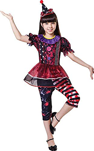 Kinder Halloween Kostüm Party Outfit Horror Freaky Clown Mädchen Kostüm - Multi, - Freaky Kostüm Kinder
