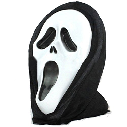 joyliveCY Halloween Scream Mask Ghost Masks con Capucha Cara Blanca para Unisex Classic Mask-H-001