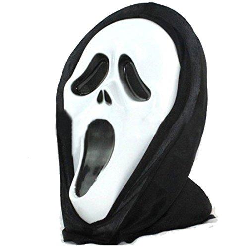 (joyliveCY Halloween Scream Maske Geist Masken mit Kapuze White Face für Unisex Klassische Maske-H-001)