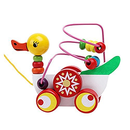 Fostly Baby Wooden Duck Pull Along Toy Carts Rope Drag Duck With Beads Preschool Toddler Toy Smart Development Gift Toy