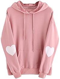 LILICAT Sudadera con Capucha del Corazón de Mujer Sudadera con Bolsillo de Manga Larga de Otoño de 2017 Moda, Camisas Blusas de…