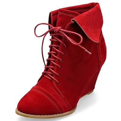 MQ23 Damen super bequeme Ankle – Boots mit Keilabsatz 312-1 Red Gr. 41