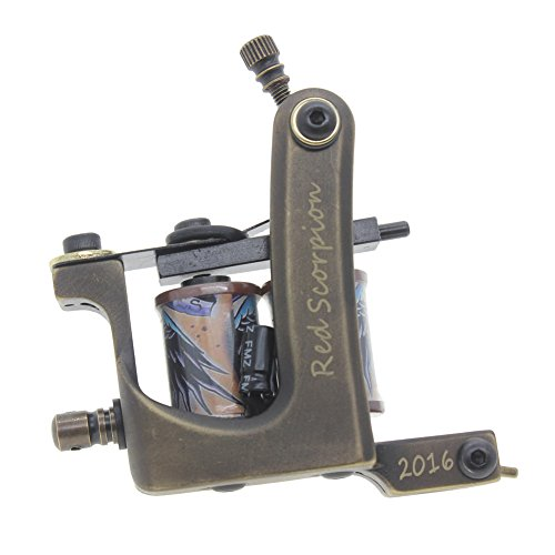 Handmade Coil Tattoo Gun, Brass Machine TATTOO Frame per Tattoo Supply, Red Scorpion (Liner)