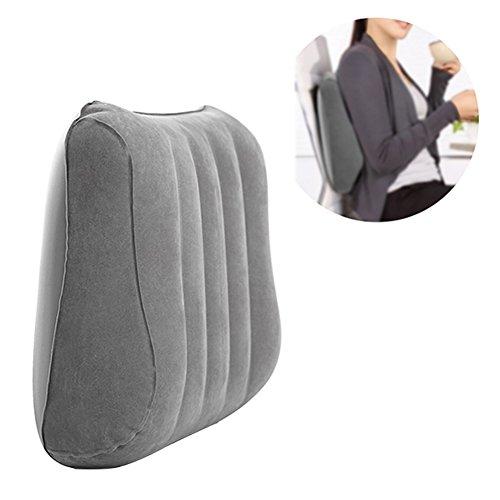 Bloomma Cuscino lombare, Cuscino gonfiabile posteriore floccato in PVC per auto,sedia da ufficio,casa,viaggio,campeggio