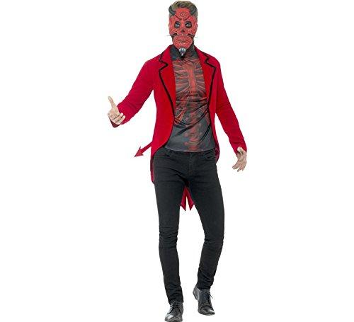 Smiffys Herren Tag der Toten Teufel Kostüm, Jacke, Oberteil und Maske, Größe: XL, - Tag Der Toten Teufel Kostüm