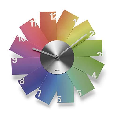 MOMA Wanduhr Rainbow Clock, PVS, Aluminium, bunt, 3.81 x 29 x 29 cm