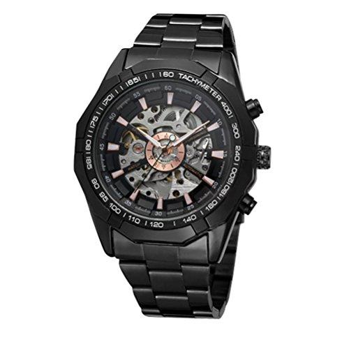 GuTe Mechanical - Elegante orologio scheletrato da polso per uomo, con movimento meccanico automatico, in acciaio, con quadrante a X e lancette fluorescenti, colore: nero
