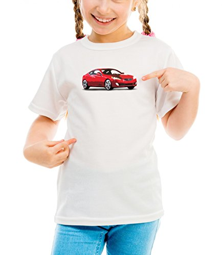 Billion Group | Korean Red | Fast And Furious Motor Cars | Girls Classic Crew Neck T-Shirt Bianco Medium