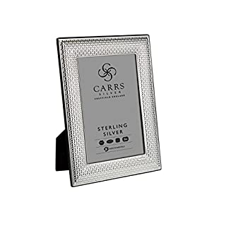 Solid Silver 6 x 4 inch Photo Frame with a Cross Stitch Design