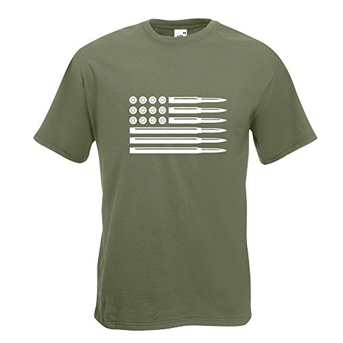 KIWISTAR - Munition Flagge USA T-Shirt in 15 verschiedenen Farben - Herren Funshirt bedruckt Design Sprüche Spruch Motive Oberteil Baumwolle Print Größe S M L XL XXL Olive