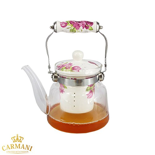 CARMANI - Théiere en verre avec manche en métal et fleurs roses vintage Systeme d'infusion amovible céramique pour feuille de thé en vrac 900ml