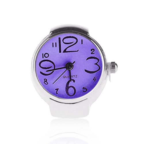 Ringuhr Fingeruhr Uhr für den Finger in Silber und Lila Schriftfeld (in 6 verschiedenen Farben erhältlich) des Zifferblattes, Quartzuhr, von Kobert Goods