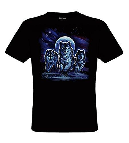 DarkArt-Designs Wolfpack - Wölfe mit US Flagge T-Shirt für Kinder und Erwachsene - Tiermotiv Shirt Wildlife Biker Rocker Fun Party&Freizeit Lifestyle regular fit Black