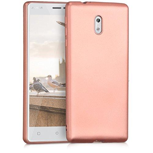 kwmobile Funda para Nokia 3 - Carcasa para móvil en [TPU Silicona] - Protector [Trasero] en [Oro Rosa Metalizado]