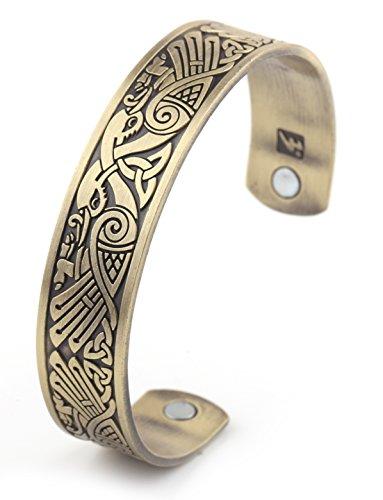 Pulsera magnética con motivos paganos vikingos y celtas en bronce antiguo