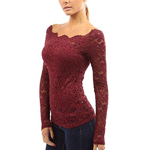 QBQ Damen Langarmshirt Tops Floraler Spitze Weg von der Schulter oben Bluse Rot