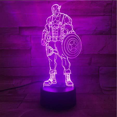 Rulaifozhu magic hero super man legendary vision lights lampada da tavolo cambio colore luce night sleep 7 colori, led, 3d night light