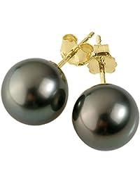 Pearls & Colors - Boucles d'oreilles - Or jaune 9 cts - Perle de culture de Tahiti