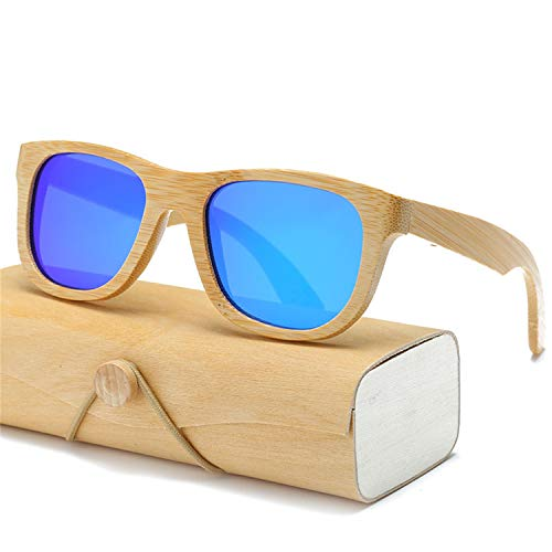 AOCCK Sonnenbrillen,Brillen, Polarized Wood Sunglasses Men Women Square Bamboo Women Mirror Polaroid Sun Glasses For Men Women Retro De Sol Handmade Pink 1501KP C25 CASE