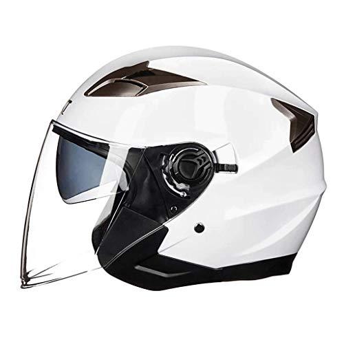 Lsrryd Motociclo Casco Open-Face Scooter Doppi Occhiali Sicurezza Moda personalità per Uomini Donne (Colore : Bianca, Dimensioni : L58-59CM)
