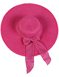 JERKKY Mujeres Vacaciones de Verano Sombrero de Paja Sombrero para el Sol  Dulce Sólido Color Caramelo f1517fe05fd