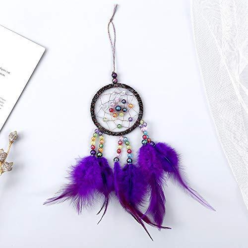Traumfänger Traumfänger handgemachte kreisförmige Net Wandbehang Ornament Dekor für Kinder Mädchen nach Hause Schlafzimmer für Wand Auto hängende Dekoration Ornament ( Color : Purple , Size : 30*7cm ) (Purple-schlafzimmer-wand-dekor)