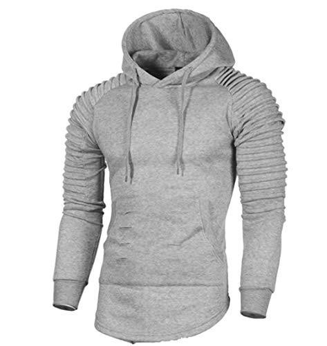 Dehots Herren Sweatshirt Kapuzenpullover Pullover Pulli Hoodie Sweater Langarm Shirt Rundhals Oversize Herbst Winter, Grau, EU S ( Tag XL )