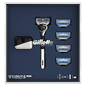 Gillette Gift Set With Fusion5 ProShield Chill Chrome Razor Premium Edition For Men + 3 Blades + Shaving Gel + Stand - Suitable For a Christmas Gift