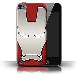 Stuff4 Coque pour Apple iPod Touch 5 Casque Super Héro Robot Rouge/Argent Désign Transparent Etui Housse Case Rigide Ultra Mince