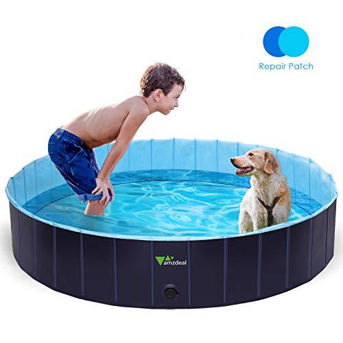 amzdeal Hundepool Schwimmbad - Faltbares Doggy Pool, 100{5aa162a1d11a32a48762463777d884f9d590f426686e8b6aa5c7a25cec97a8eb} Umweltfreundliche PVC, Rutschfest Schwimmbad für Hunde und Katzen, Hunde Planschbecken für Indoor und Outdoor geeignet, 160 × 30 cm