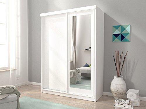 furniture24-eu Kleiderschrank Schwebetürenschrank Alaska mit Spiegel (150/200/62 cm B/H/T, weiß matt)