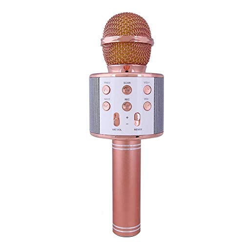 W858 Handheld Wireless Microphone With Dual Bluetooth Speaker& Karaoke Mic For All IOS/Android Smartphones Assorted color
