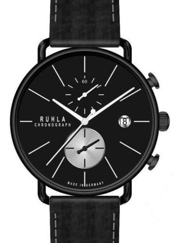 RUHLA Chronograph Herrenuhr 15151 Leder Black IP