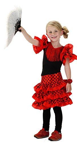 sch Flamenco-Kleid für Mädchen, Größe M, rot (Mädchen Spanische Kostüme)