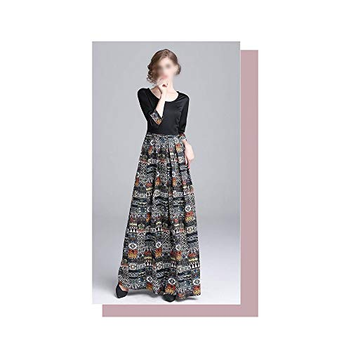 Rocke Herbst und Winter Mode Kleid Taille schlanke vielseitige Nähte Print Kleid (Farbe : Schwarz, Size : 2XL)