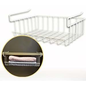 panier de rangement accrocher sous une tag re corbeille de stockage en m tal blanc. Black Bedroom Furniture Sets. Home Design Ideas