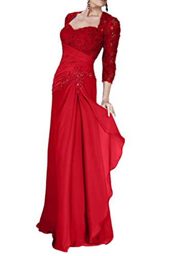 Victory Bridal Glamour Lila Spitze Chiffon Abendkleider Ballkleider fuer Brautmutter Lang Neu Rot