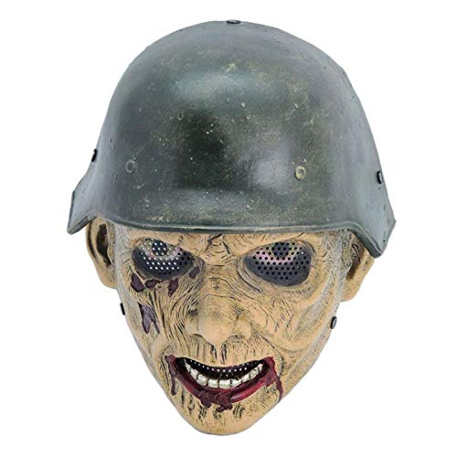 sldnfoi Zombie Soldat Resident Evil Zombie Vollgesichtsmaske Halloween FRP Maske Zweiten Weltkrieg Zombies,A-OneSize