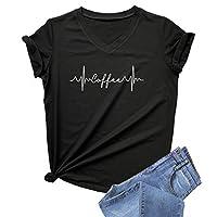 DANVOUY Womens Causal Short Sleeve V-Neck T-Shirt Graphic Tees Black Small