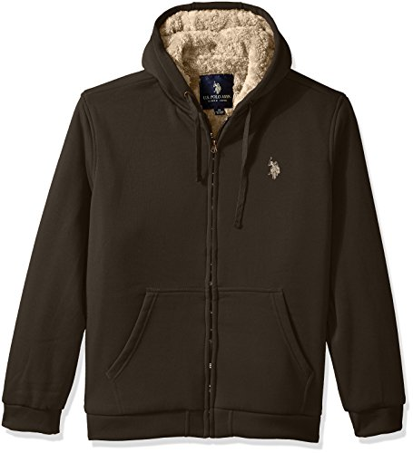 U.S. Polo Assn. Men's Standard Sherpa Lined Fleece Hoodie, Forest Night 5514, 3X Sherpa-lined Hoodie