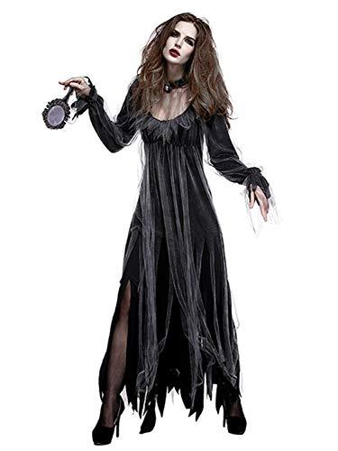 Damen Kostüm Übergröße Clown - FStory&Winyee Damen Halloween Kostüm Erwachsene Horror Zombie Geist Braut Kostüm Gruselig Karneval Verkleidung Party Dämonen Kostüm Geisterbraut Kostüm Cosplay Kleid Schwarz