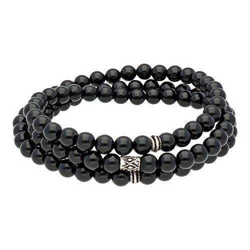 AQILA 3in1 Armband Halskette Gebetskette Onyx Perlen 925 Silber elastisch schwarz 60 cm