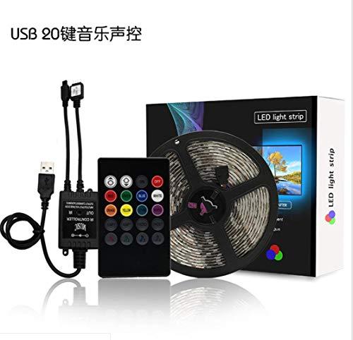 SIMGULAM USB-LED-Streifenlicht-Kit 9,84 ft / 3 m, SMD5050 RGB-Rhythmuslicht-Farbwechselstreifen TV-Hintergrundbeleuchtung, Flexibler Bandstrang für 50 '' - 60 '' - HDT -
