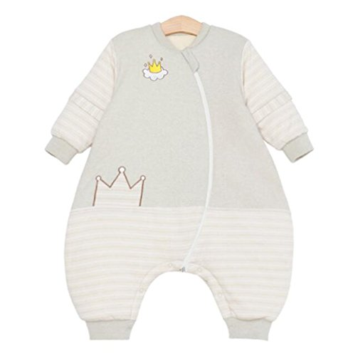 Chilsuessy Baby Winter Schlafsack GOTS Bio Baumwolle Vorne 3.5 Tog und hinten 2.5 Tog Kinderschlafsack Wattierter Babyschlafsack mit abnehmbar Langarm und Beine, Gruen, XXL/Koerpergroesse 110-120cm