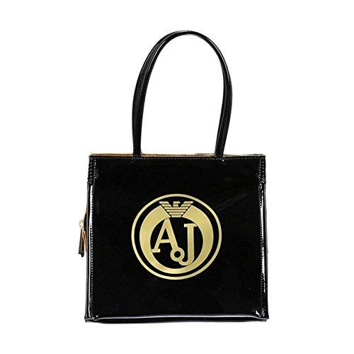 ARMANI JEANS donna borsa shopping 922162 6A735 03420 NERO/ORO UNICA Nero-oro