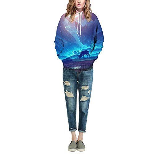 Sweatshirt Hoodies 3D Imprimer Cordon À Capuche À Manches Longues Décontracté Respirant Jumper Avec Grande Poche Pour Hommes Femmes Couples Starry Sky Bluepurple