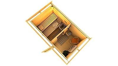 KARIBU Sauna Skrollan 1, B/T/H: 196/337/228 cm, 40 mm, 9-KW-Ofen mit ext. Steuerung 9-kW-Ofen mit externer Steuerung
