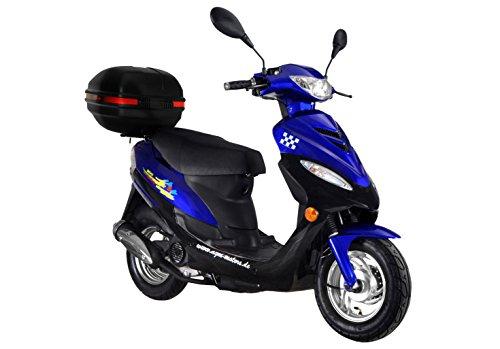 Roller GMX 450 SPORT Mofa 25 km/h blau + Topcase 2,4 KW / 3,3 PS / Luftgekühlt / Alufelgen / Gepäckträger / Scheibenbremse / Teleskopgabel Hydraulisch / ab 15 Jahren