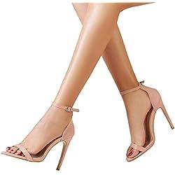 Sandalias Verano de Señoras Mujeres Atractivas del Verano Zapatos de tacón Alto Banquete de Boda Zapatillas de Noche Chicas Sandalias Elegantes Zapatos Peep Toe Tacones Ancho Sandalias